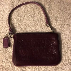 "AUTHENTIC COACH PLUM 5.5"" 3.5"" WRISTLET/COIN PURSE"